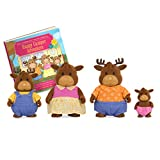 Li'l Woodzeez 6463 Moose Family with Storybook Vanderhoof Elch Familie mit Geschichtenbuch, Multi -