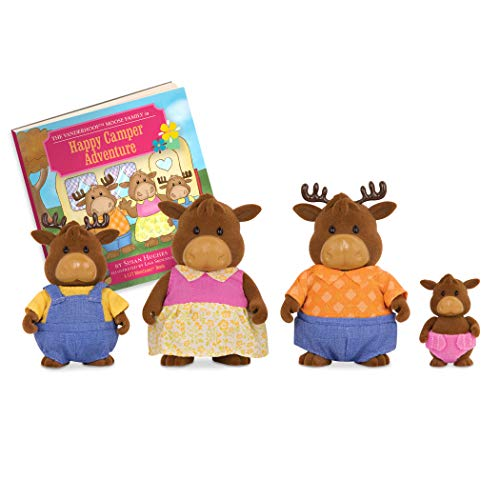 Li'l Woodzeez 6463 Moose Family with Storybook Vanderhoof Elch Familie mit Geschichtenbuch, Multi