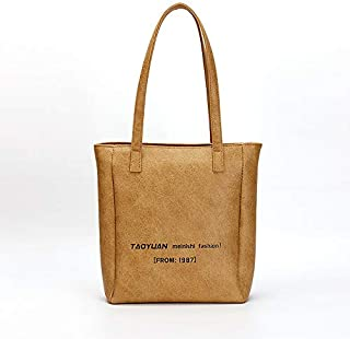 Adebie - Summer New Design Women Shoulder Bag Fashion Female Large Capacity Handbag Lady Silver Handbag Retro Pu Leather Large Tote Bag Brown []