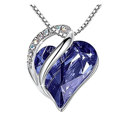 haoricu - Collar con colgante de corazón con cristales de piedra natal, regalo para mujer, cumpleaños, aniversario, fiesta, Suave, talla única , Azul marino/flor y brillo