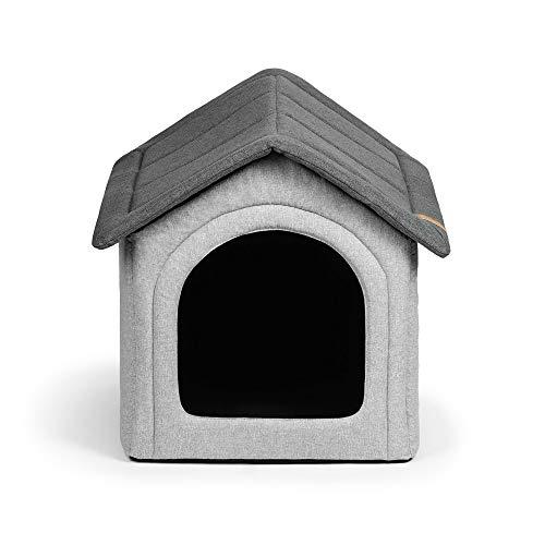 R Rexproduct Home Premium Hundehütte Hundehaus Tierhaus Flattbar Wasserfest Kratzfest Grau-Melange XXL (55x60x60 cm)