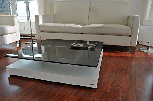 Carl Svensson Design Couchtisch Glas Tisch V-570 / V-570H Milchglas/getöntes Glas (V-570 Weiß mit getöntem Glas)