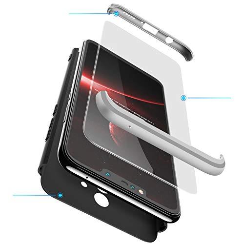 2ndSpring Cover per Huawei Mate 10 Lite,360 Gradi della Copertura Completa 3 in 1 Hard PC Case con Protezione dello Schermo di Vetro Temperato Custodia,Argento Nero