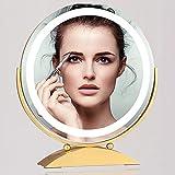 JXCAA Espejo De Maquillaje LED Redondo, Espejo De Tocador De Escritorio Redondo,Espejo De Tocador De Escritorio con Luz De Maquillaje Inteligente De Escritorio, Ángulo Ajustable, Dorado, 30 * 38 Cm