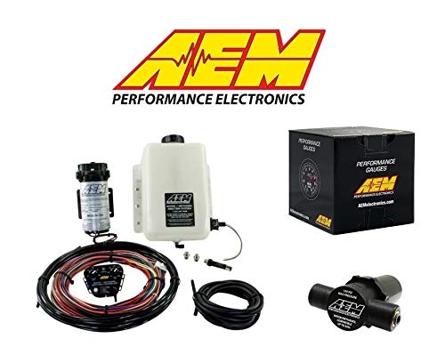 AEM Electronics COMBO Water/Methanol Injection Kit +AEM Injection Filter + AEM Wideband UEGO Gauge