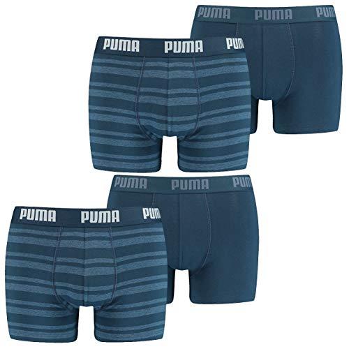 PUMA Herren Boxershort Heritage Stripe 4er Multipack S M L XL Blau Schwarz Grün Rot, Größe:M, Packgröße:4 Stück, Farbe:Denim (162)