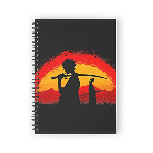 """Samurai Champloo walking on sunset Spiral Notebooks, 5.5"""" X 8.3"""", Strong Twin-Wire Binding, Premium Paper, 80 Sheets / 160 pages Perfect for School, Office & Home"""