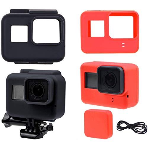 CamKix Custodie in Silicone Sleeve compatibile con Gopro Hero 6/5 Black - 2 Cover Protettive - Nero (Telaio) / Rosso (Telecamera) - Protezione per Telecamera GoPro Hero 6/5 e Telaio