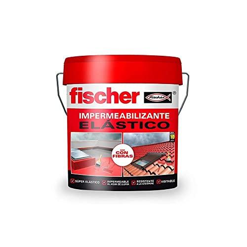 fischer - Pintura impermeabilizante (cubo 1kg) Blanco con fibras, resistente al agua y exteriores