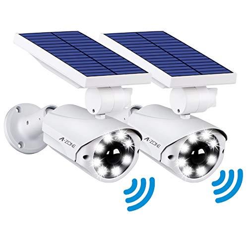 センサーライト 屋外 ソーラーライト A-ZONE 人感センサーライト 防犯カメラ型 IP66防水・防塵 省エネ 太陽光充電 配線・電源不要 ダミーカメラ 8LED 自動夜間点灯 人感検知 360°角度調節可能 壁掛け庭先 玄関周りなど対応 (2台セット)