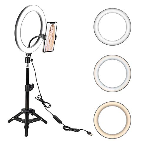 """10"""" LED Selfie Ring Light with Tripod Stand & Cell Phone Holder for Live Stream/Makeup, BONFOTO Dimmable Desktop Camera Ringlight for YouTube Video/Photography Compatible with iPhone/Android"""