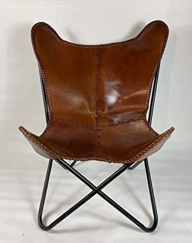 Brown Saddle Butterfly Modern Chair – Genuine Leather –...