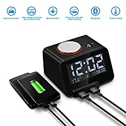Homtime Alarm Clock with Bluetooth & Charger: Dual USB Charging & Bluetooth Speaker - 3.2 LCD Display Screen Dimmable Light Digital Alarm Clocks for Girls/Adult Bedroom (Black)