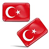 Biomar Labs® 2 x Aufkleber 3D Gel Silikon Stickers Türkei Turkey Türkisch Flagge Fahne Flag Auto Motorrad Fahrrad Fenster Tür PC Handy Tablet Laptop F 71