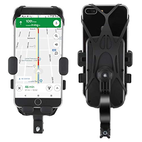 OUTAD Easy One Touch Bike & Motorcycle Phone Mount, Newest 360° Rotation Bike Phone Holder for Handlebars, Silicone Phone Holder for Bike Compatible with iPhone 11 XR X 8 7 6 Series and Android Phones