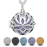 INFUSEU Aromatherapy Perfume Essential Oil Diffuser Women Necklace, Hollow Lotus Classical Pendant Aroma Locket with 5 Lava Stones & Chain 24'