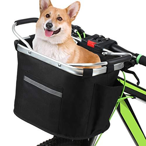 Lixada Cesta Bicicleta Delantera Plegable Desmontable Cesta Multifuncional para Mascotas Compras Camping Excursión Picnic