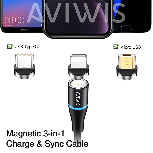 Magnetisches 3 in 1 Multi USB Kabel, AVIWIS 2M Nylon Magnetic USB Ladekabel Datenkabel mit iP Micro USB Typ C Magnet Adapter für Phone 8 7 6, Samsung Galaxy S10 S9, Huawei, Xiaomi, Oneplus
