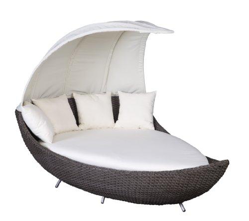 Polyrattan Liegeinsel Crescent Chai Duo/dunkel grau-braun Liege Insel Lounge Sonnenliege Terrasse