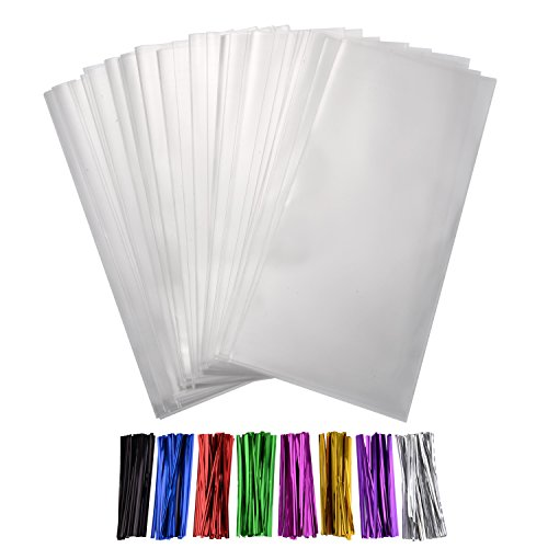 Shappy 300 Pezzi Trasparente Sacchetti OPP Borse 4 per 6 Pollice con 8 Colori Legami di Torsione per Fornitura di Matrimonio Biscotto Regalo Caramella Buffet