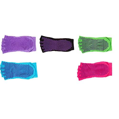 ZYCX123 5 Pares Antideslizante Yoga Yoga Pilates Calcetines del Dedo del pie Calcetines para no resbalón del resbalón Barre calcetín con mordazas para Mujeres/Hombres Recuerdos