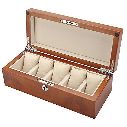 watch box Caja de Reloj de Madera Maciza marrón de 5 Ranuras Caja de presentación de Reloj Caja de colección Caja de Almacenamiento con Almohadilla Que Absorbe los Golpes