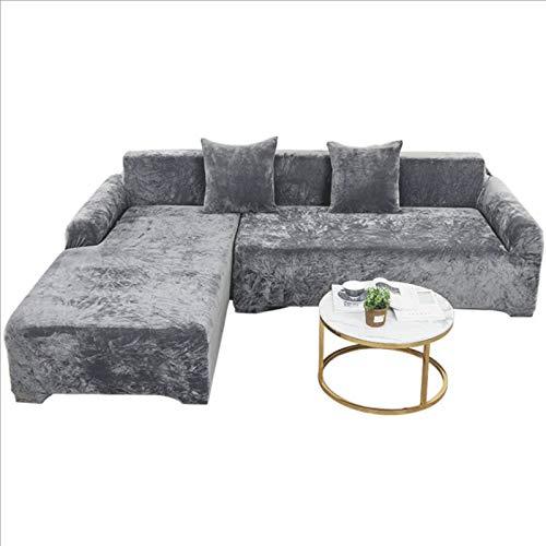 shandianniao Classic Grey Velvet Plush Slipcover Sofa Stretch Sofa Throw Sofa Cover Soft Thick Sofa Cover for L-Shape Cut Couch Seater Grey (Nur Sofabezug) (Size : 145/185CM)