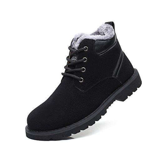 gracosy Hombre Botas de invierno, calientes botas de nieve pelo forrado Martin Botas Desert Boot Classic Ankle Boots comodidad corta vástago Botines portatartas Guantes plano con piel sintética - negr