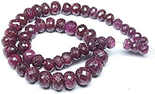 """Jewel Beads Natural Beautiful jewellery Natural Blood Red Ruby Faceted Rondelle Micro Gemstone Craft Loose Beads Strand 19"""" 11mm 9mmCode:- BB-1385"""