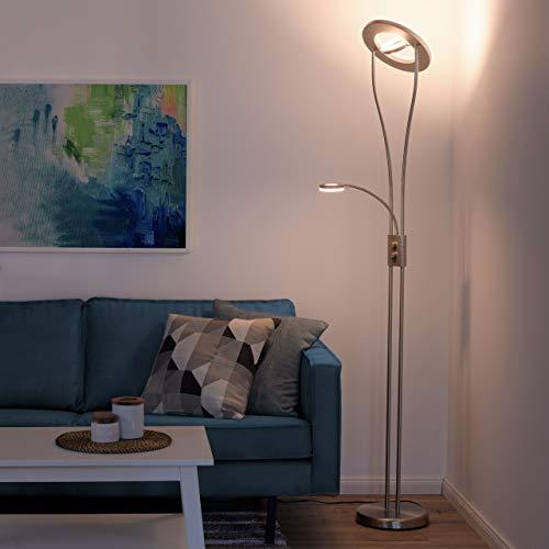 LeuchtenDirekt dimmbare LED Stehlampe mit Leselampe | LED Deckenfluter aus Edelstahl mit verstellbarem Lesearm | moderne Stehleuchte, warmweiss für Wohnzimmer, Büro und Schlafzimmer