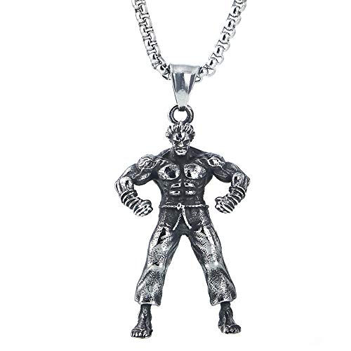KERVINFENDRIYUN YY4 Halskette aus Titan-Stahlguss-Herkules-Anhänger aus Edelstahl