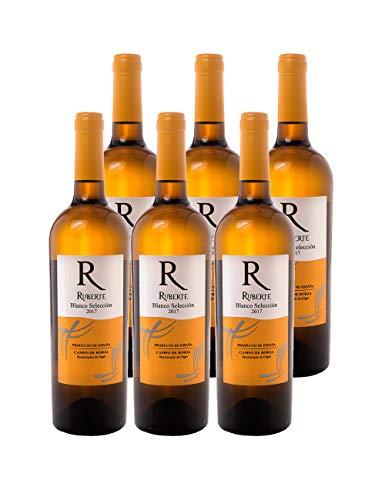 Ruberte Vino Blanco Seco Selección 2017 - Variedad Moscatel de Alejandría - D.O. Campo de Borja - 13% - 6 botellas x 750ml