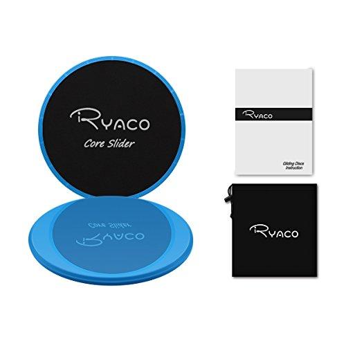 RYACO 2X Discos Deslizantes para Fitness Abdominales con Bolsa de Transporte –Discos Doble Cara Deslizantes para Hogar, Yoga, Fitness, Pilates, Ejercicios de Cuerpo – Moquetas y Solería, Azul