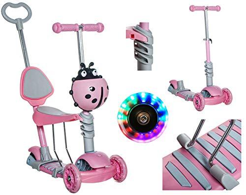 Kruzzel Kinderroller Kickscooter Tretroller ab 3 Jahren bis 60 kg Mädchen Junge 10329, Farbe:Rosa