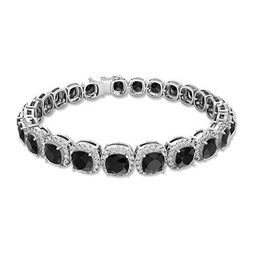 12 Karat Kissenschliff Schwarz Spinell Charm-Armband, 2,4 Karat Moissanit Halo Tennis Armband, SGL zertifizierter Edelstein Damen Armband, Hochzeit Braut Armband, 92.5 Sterlingsilber
