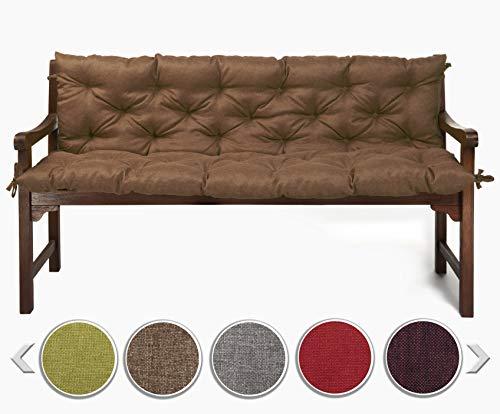sunnypillow Bankauflage Stuhlkissen Bankkissen 200 x 50 x 50 cm Sitzkissen und Rückenkissen für Hollywoodschaukel Polsterauflage Auflage für Gartenbank viele Farben und Größen zur Auswahl Braun