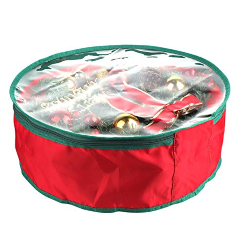 YDS SHOP Christmas Tree Storage Bag, Wreath Storage Bag 19' Garland Wreaths Container with Clear Window for Christmas Decorations,Red