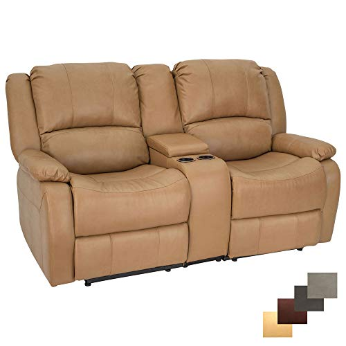 RecPro Charles 67' Powered Double RV Wall Hugger Recliner Sofa RV Loveseat (Toffee)