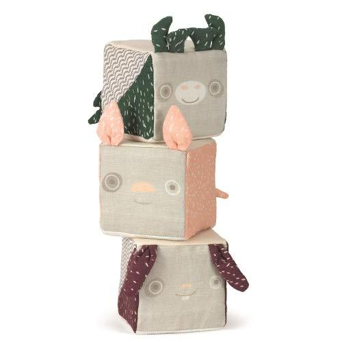 Micki Senses Lot de 3 cubes en tissu en forme d'animal de compagnie Motif girafe, cochon et lapin 8 x 8 cm 6 mois