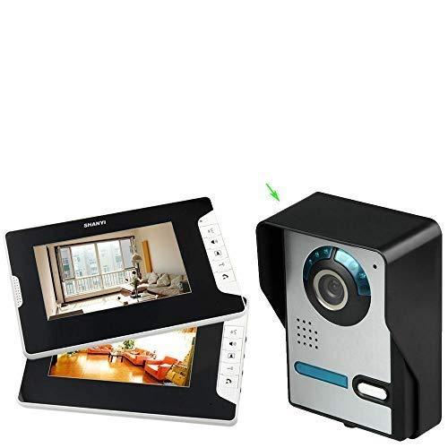 Videoportero con monitor de 7 pulgadas, 2 monitores y cámara exterior, timbre para 2 viviendas
