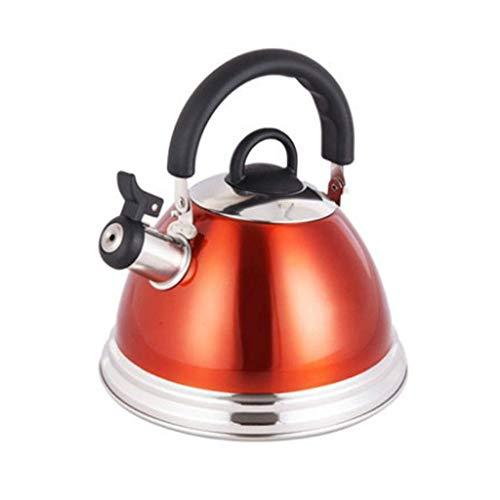 GJJSZ Bouilloire à sifflet crème Mate en Acier pour Plaque de Cuisson à gaz Bouilloire à sifflet électrique à Induction,3 L