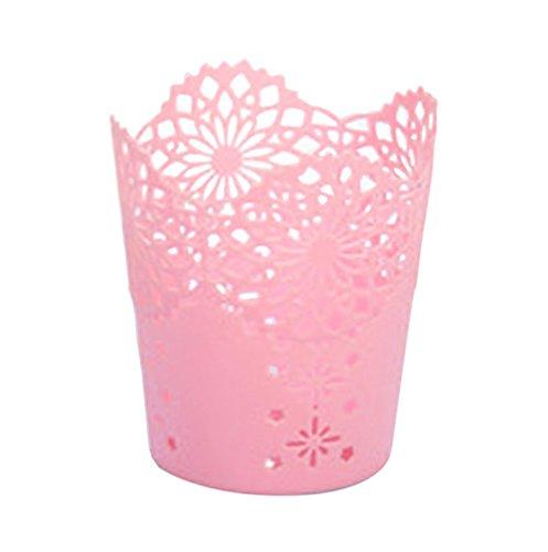 Gespout Creux Fleur Plastique Cylindre Pot à crayons support durable Organiseur Stationery Office Decor Plastique Rose 10 * 7.5 * 11.5cm