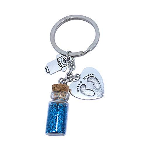 VOSAREA Porte-clés Cadeau en Forme de Coeur Pendentif de Petits Pieds Porte-clés Sac à Main Pendentif décoration (Bleu)