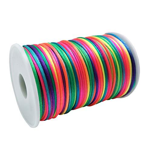 FQTANJU Rainbow Colors 2mm x 100 yards Satin Nylon Trim Cord, Rattail, Chinese Knot, Kumihimo, Premium Quality