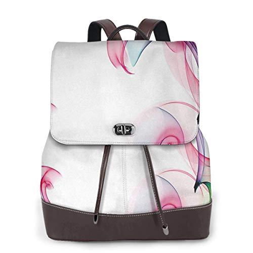 Rucksack Damen Smock Zeitgenössisch Futuristisch, Leder Rucksack Damen 13 Inch Laptop Rucksack Frauen Leder Schultasche Casual Daypack Schulrucksäcke Tasche Schulranzen