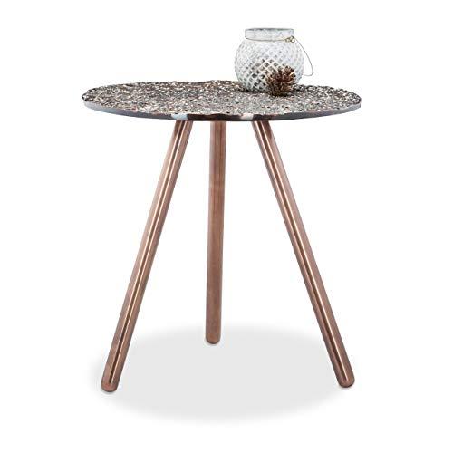 Relaxdays Bijzettafel antiek, driebenig, siertafel, decoratieve tafel, opvallend design 40 x 40 x 40.5 cm koper