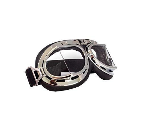 VIENTO Biker's - Gafas de sol (marco plateado, cristal transparente)