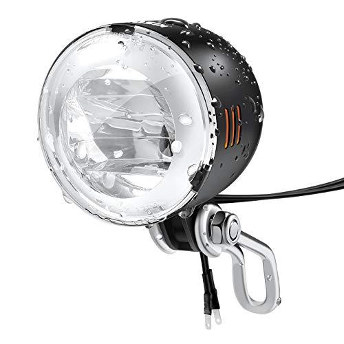 Hosim Fahrrad Dynamo Licht, Fahrradlicht Vorne (K~1794), Fahrradlampe Nabendynamo, IPX5 wasserdichte LED Fahrradbeleuchtung