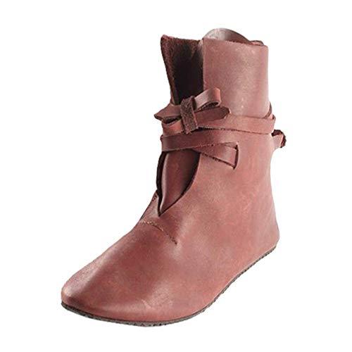 Mittelalterliche Schnürschuhe, Damen Mittelalter Stiefeletten Lace-up Runder Kopf Martin Stiefel Wikinger Pirat LARP PU Lederstiefel
