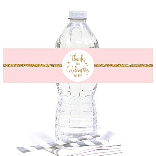 Andaz Press Blush Pink Gold Glitter Print Wedding Collection, Water Bottle Label Stickers, 20-Pack